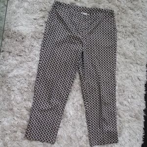 CAbi Ankle Crop Career Office  Pants Black White 8